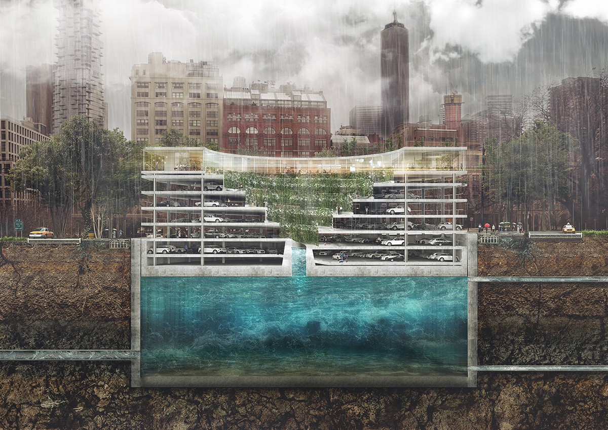 POP-UP parking – water reservoir, parking and public space in one solution Photo credit: THIRD NATURE