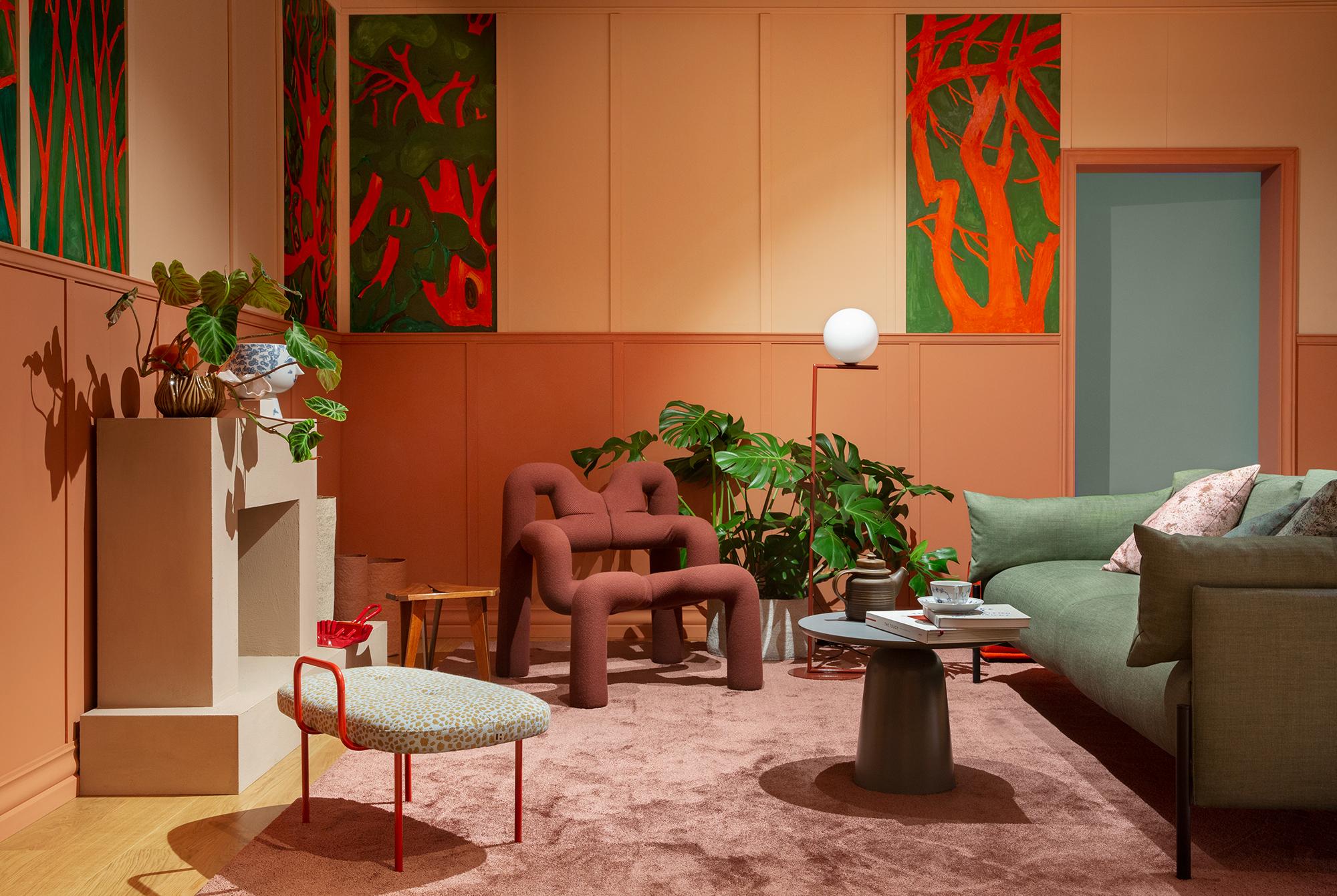 Tendensutstillingen. Stue. Design Vera & Kyte, billedkunst Andreas Siqueland og kurator Kirsten Visdal. Foto Inger Marie Grini.