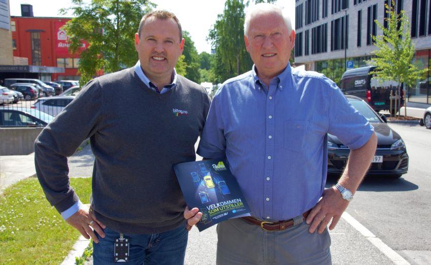 Bilfag.no og Vidar Strande (til venstre) har inngått avtale med Automessen og Arild Hansen om gjennomføring av Bilfag-NM under Automessen 2021. Foto: MotorBransjen.no