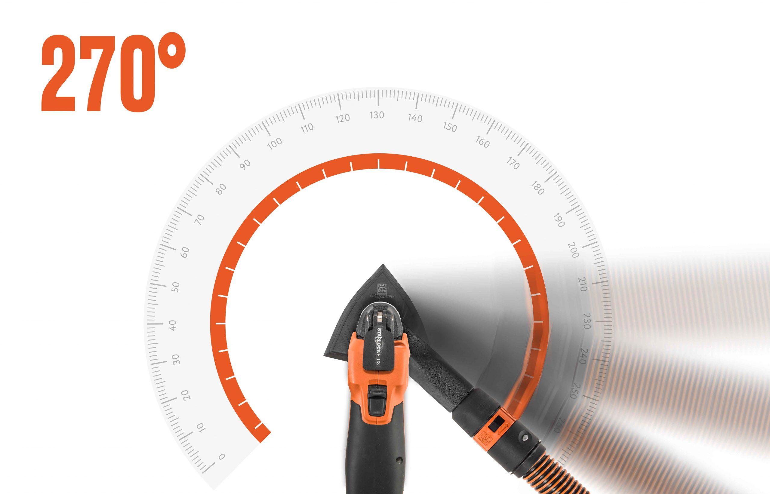 Avhengig av ønsket bruk, kan håndverkere feste støvavsuget i en fast stilling eller ha det slik at den fleksibelt følger retningen på slipingen i 270 grader. Foto: FEIN